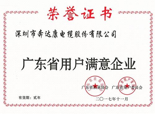 广东省用户满意度企业证书